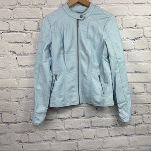Reitmans Ladies Light Blue Pleather Jacket
